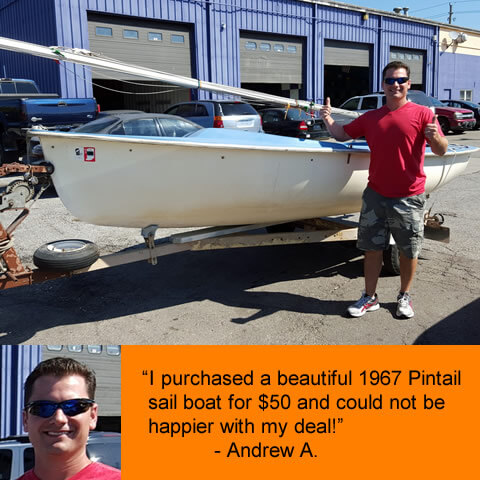"""""""I purchased a beautiful 1967 Pintail sail boat for $50 and could not be happier with my deal!"""" - Andrew A."""